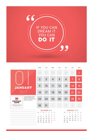 desk calendar: Wall calendar planner print template for 2017 year. January 2017. Calendar poster with motivational quote. 3 Months on page. Week starts Monday