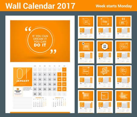 october calendar: plantilla de impresión planificador de calendario de pared 2017 año. Calendario del cartel con cita de motivación. 3 Meses en la página. La semana comienza el lunes