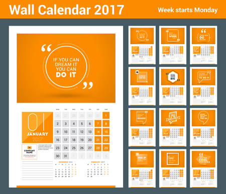 calendar day: Wall calendar planner print template for 2017 year. Calendar poster with motivational quote. 3 Months on page. Week starts Monday