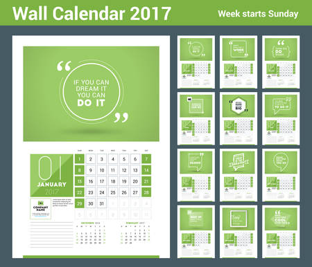 months of the year: Wall calendar planner print template for 2017 year. Calendar poster with motivational quote. 3 Months on page. Week starts Sunday