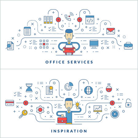 website header: Office services. Inspiration. Flat line icons and businessman cartoon character. Business concept. Vector thin line illustration for website banner template or header