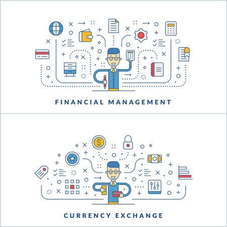website banner: Financial management. Currency exchange. Flat line icons and businessman cartoon character. Business concept. Vector thin line illustration for website banner template or header