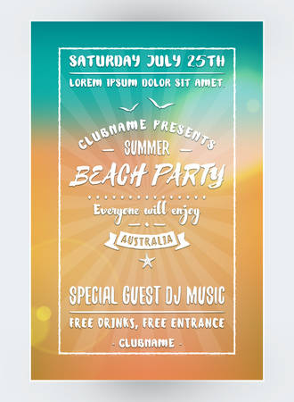 event party: Summer Beach Party Flyer or Poster. Night Club Event. Summer Night Party. Vector Flyer Design Template