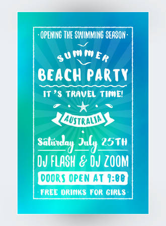 event: Summer Beach Party Flyer or Poster. Night Club Event. Summer Night Party. Vector Flyer Design Template