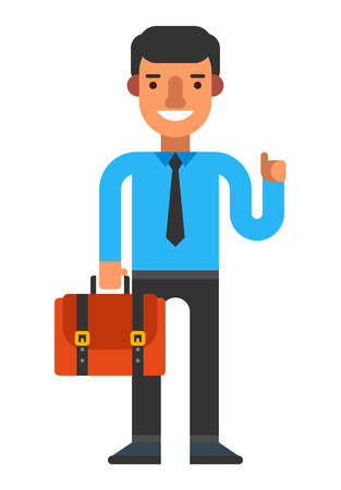 hold high: A guy with briefacse. Coloured flat vector illustration isolated on white background Illustration