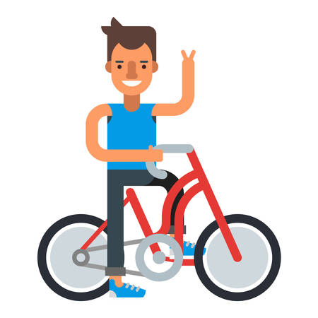 bycicle: Smiling man with bycicle. Flat vector illustration isolated on white background.