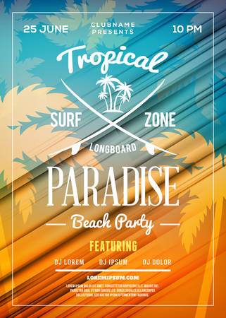 Summer Beach Party Flyer or Poster. Summer Night Party. Vector Design Template Illustration