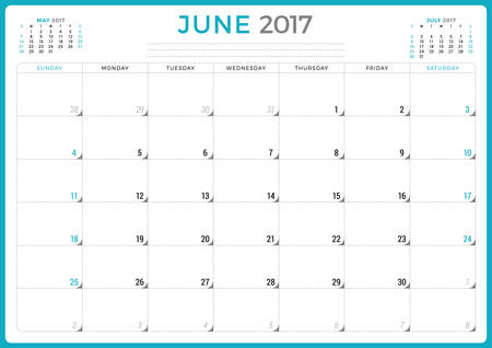 agenda year planner: Calendar Planner for 2017 Year. Vector Design Template. June. Week Starts Sunday. 3 Months on Page. Stationery Design