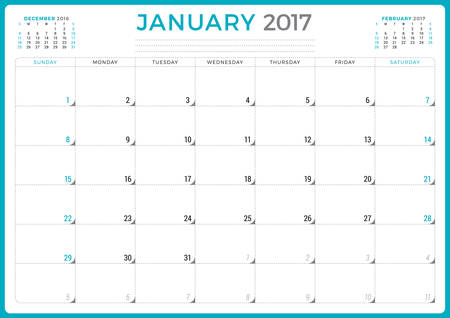 months of the year: Calendar Planner for 2017 Year. Vector Design Template. January. Week Starts Sunday. 3 Months on Page. Stationery Design