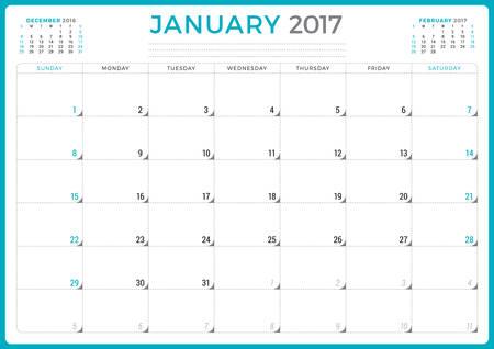 meses del año: Planificador de calendario para 2017 Año. Del diseño del vector. Enero. La semana comienza el domingo. 3 Meses En la página. Diseño de papelería