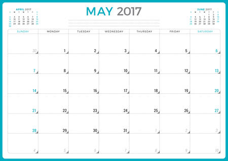 organiser: Calendar Planner for 2017 Year. Vector Design Template. May. Week Starts Sunday. 3 Months on Page. Stationery Design