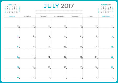 agenda year planner: Calendar Planner for 2017 Year. Vector Design Template. July. Week Starts Sunday. 3 Months on Page. Stationery Design
