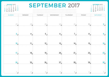 months of the year: Calendar Planner for 2017 Year. Vector Design Template. September. Week Starts Sunday. 3 Months on Page. Stationery Design Illustration