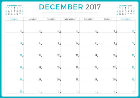 agenda year planner: Calendar Planner for 2017 Year. Vector Design Template. December. Week Starts Sunday. 3 Months on Page. Stationery Design