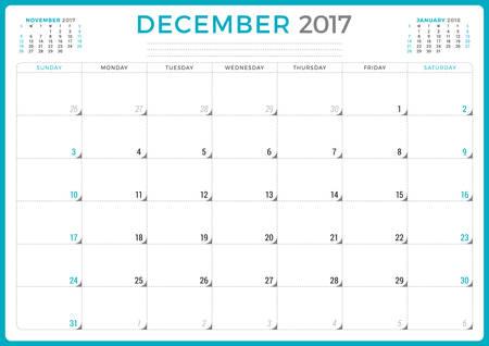 meses del año: Planificador de calendario para 2017 Año. Del diseño del vector. Diciembre. La semana comienza el domingo. 3 Meses En la página. Diseño de papelería