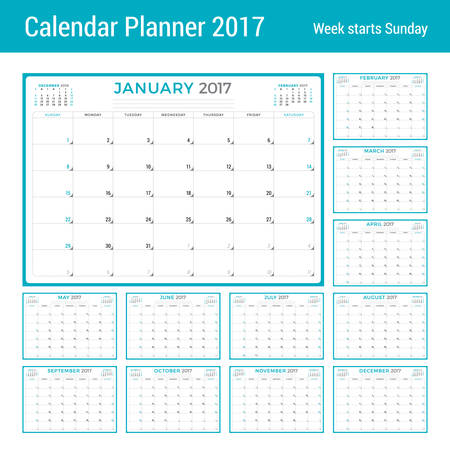 months of the year: Calendar Planner for 2017 Year. Vector Design Template. Set of 12 Months. Week Starts Sunday. 3 Months on Page. Stationery Design Illustration