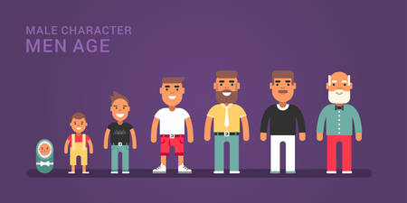 life stages: Men age. Generations, life stages of men. Web banner with dark blue background Illustration