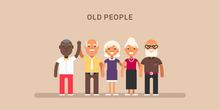 old people: Old people. Horizontal colored flat vector illustration