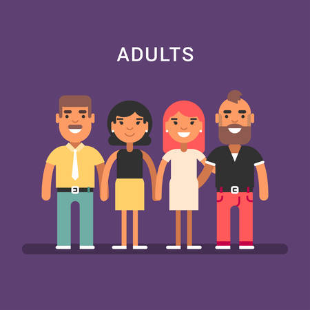 mature: Two mature couples. Men and women. Colored flat vector illustration Illustration