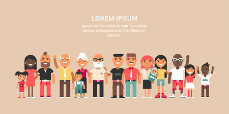 Duża rodzina. Grupa szczęśliwych postaci w każdym wieku stojących.