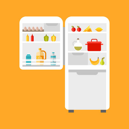 frig: Open refrigerator with food. Flat style vector illustration