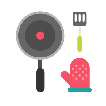 pot holder: Steel spatula, oven glove and frying pan. Kitchen tools items. Cooking equipment