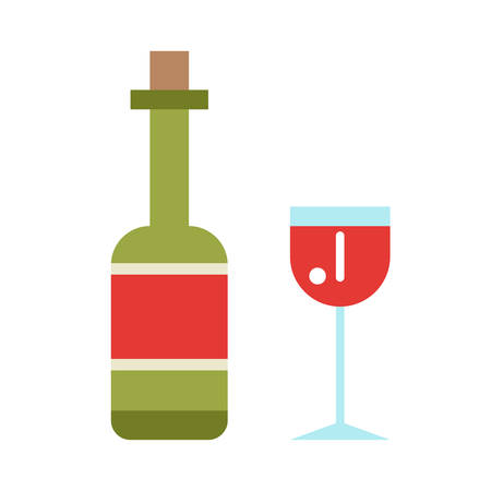 bocal: Wine icon set flat style isolated on white background.  Wine bottle and wine glass vector illustration in flat style