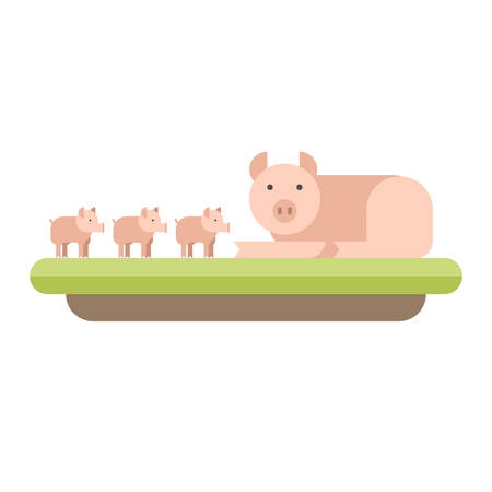 piglets: Farm animal. Pig with piglets. Vector flat style  illustration