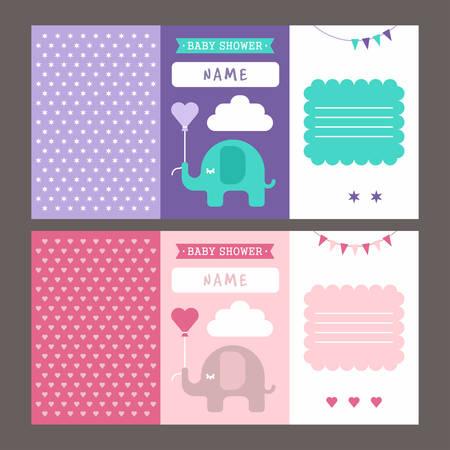 Modelo De La Invitacion De Baby Shower Con Un Elefante Ilustracion