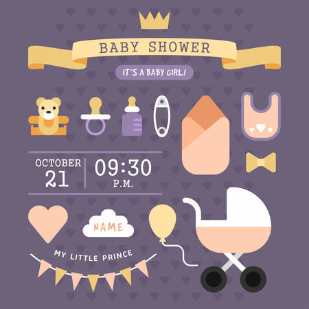 burp: Baby shower invitation card template. Its a baby girl! Colored flat vector illustartion.with violet polka hearts background.