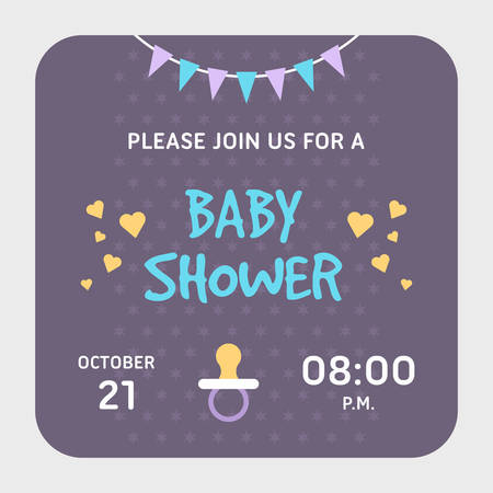 applicable: Baby shower invitation card template. Violet, applicable for girl or boy, pacifier. Colored flat vector illustartion.