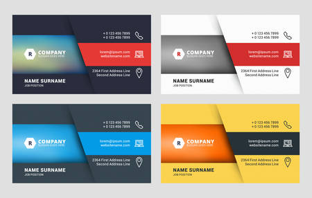 business sign: Business Card Vector Template. Flat Style Vector Illustration. Stationery Design. 4 Color Variations. Print Template Illustration