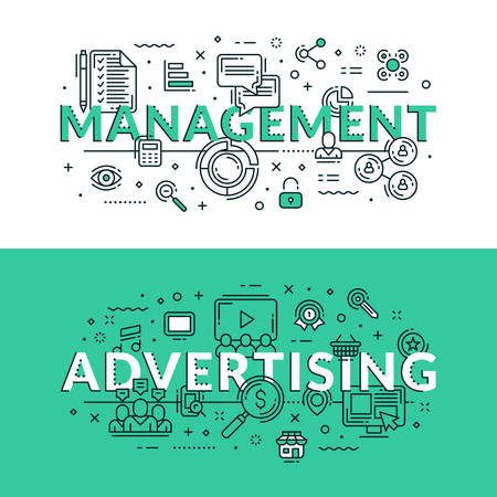 classified ads: Management and advertising related icons. Colored flat vector illustration in seagreen and white colors Illustration