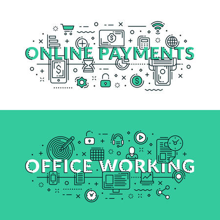 office stuff: Online Payments and Office Working related icons. Colored flat vector illustration in seagreen and white colors. Online transactions, money transfer, office stuff and processes, Illustration
