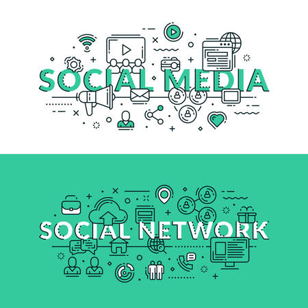 publicity: Social Media and Social Network Concept. Colored flat vector illustration in seagreen and white colors. Share ideas, online advertisement, chat, like, publicity. Illustration