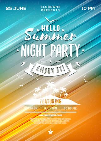 danza clasica: Summer Beach Party Flyer o cartel. Partido de la noche de verano. Vector plantilla de diseño con colores de fondo abstracto Vectores