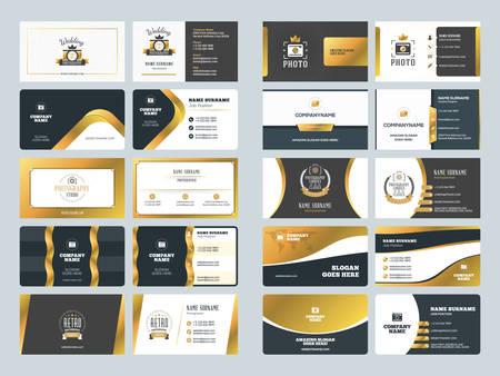 Set of creative golden business card design templates vector set of creative golden business card design templates vector illustration stationery design gold cheaphphosting Images