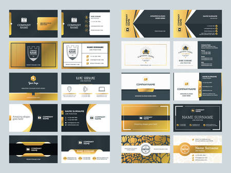 Set of creative golden business card design templates. Vector Illustration. Stationery Design. Gold and Black Colors