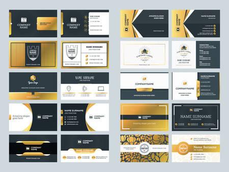 Set van creatieve gouden visitekaartje ontwerpsjablonen. Vector illustratie. Briefpapierontwerp. Goud en zwarte kleuren