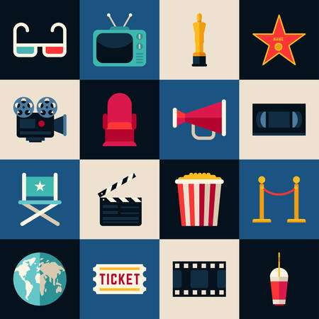 a cartoon film: Movie Concept. Set of Flat Style Vector Icons, 3D glasses, Movie Theater, Movie Projector, Popcorn, Cinematic Award, Movie Premiere Illustration