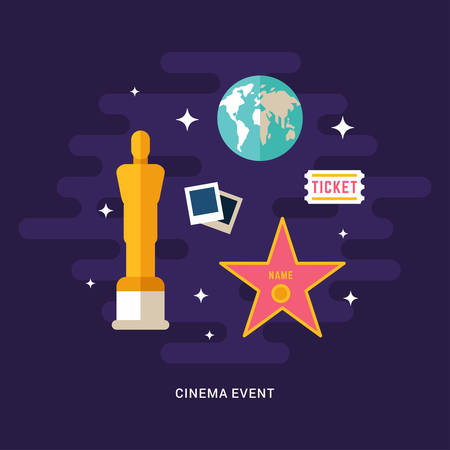 cinematic: Cinema Event Concept Illustration. Cinematic Award. Set of Flat Style Vector Icons