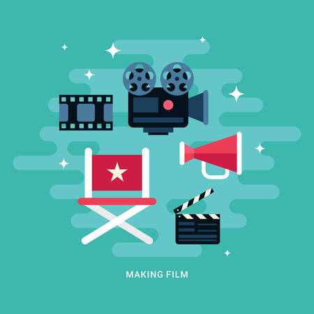 showreel: Making Film Concept Illustration. Set of Flat Style Vector Icons