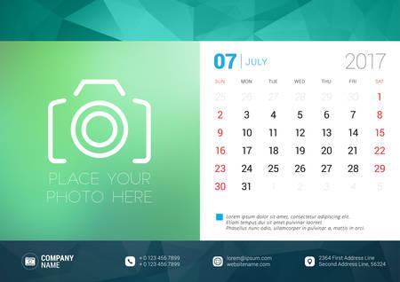 desk calendar: Desk Calendar Template for 2017 Year. July. Design Template with Place for Photo. Week starts Sunday. Vector Illustration Illustration