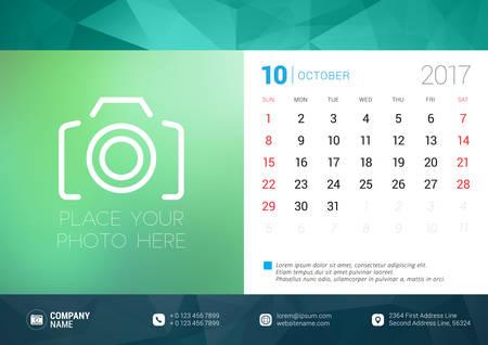 desk calendar: Desk Calendar Template for 2017 Year. October. Design Template with Place for Photo. Week starts Sunday. Vector Illustration Illustration