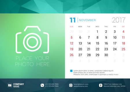 desk calendar: Desk Calendar Template for 2017 Year. November. Design Template with Place for Photo. Week starts Sunday. Vector Illustration