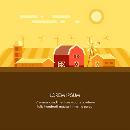 agrarian: Agrarian landscape with a barn, garage, mind mills. Colored flat vector illustration with a field for text on bottom