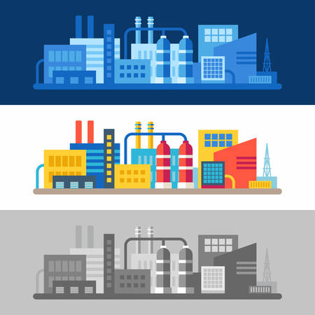 industrial complex: Three flat vector illustrations with scenes of factory buildings. Monochrome in blue and gray, colored isolated on white background