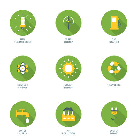 energy supply: Set of Flat Design Ecology Icons With Long Shadow. New Technologies, Wind Energy, Gas Station, Nuclear Energy, Solar Energy, Recycling, Water Supply, Air Pollution, Energy Supply. Vector Icons