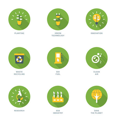 bio fuel: Set of Flat Design Ecology Icons With Long Shadow. Planting, Green Technology, Innovation, Waste Recycling, Bio Fuel, Clean Air, Research, Eco Industry, Save the Planet. Vector Icons Illustration