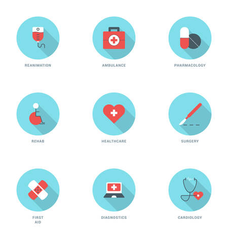 reanimation: Set of Flat Design Medicine Icons With Long Shadow. Reanimation, Ambulance, Pharmacology, Rehab, Healthcare, Surgery, First Aid, Diagnostics, Cardiology. Vector Icons